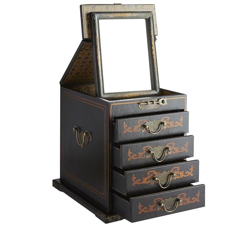 Black Jewelry Box With Folding Mirror Pier 1 Imports