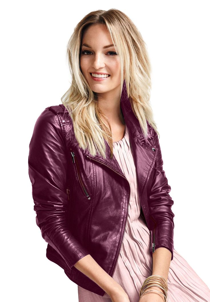 Faux Leather Moto Jacket by Ellos® - Women's Plus Size Clothing