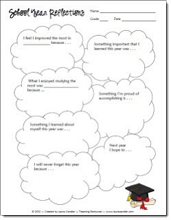 School Year Reflections Freebie including a blank customizable version