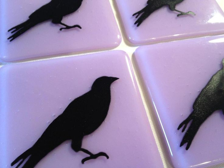 """Black Crow Custom Glass Tiles 4""""/Hand Painted Blackbird Silhouettes, Kitchen Tile, Bathroom Tile, Raven Tile, Crow Tile FREE Shipping to US by OmegaArtDesign on Etsy https://www.etsy.com/listing/83663012/black-crow-custom-glass-tiles-4hand"""