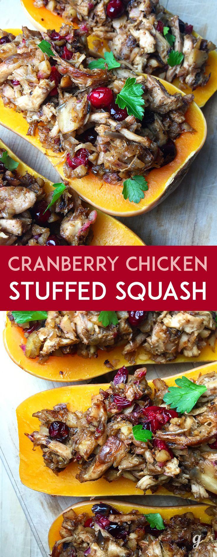 Cranberry Chicken Stuffed Squash: warmly savory shredded chicken, the subtle…
