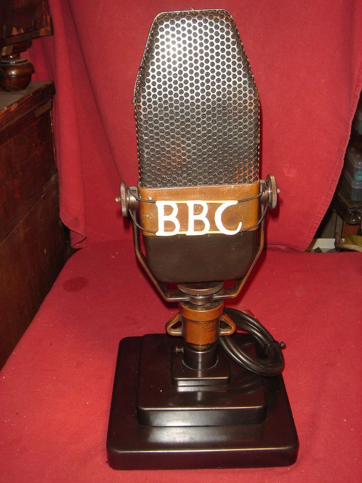 Ribbon Microphone Bbc Marconi Axbt Antique 1935 With Base