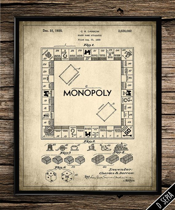 Vintage Patent Monopoly Board Game | Vintage Prints | Patent Prints | Home Office  Decor | Printable Wall Art | 8x10 | Instant Download |