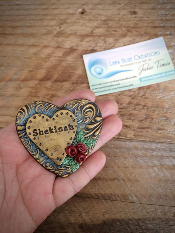 MADE TO ORDER Personalized magnet This is metallic inspired, textured polymer clay heart magnet. Heart size is about 3 inches. *** Leave a note for the name during checkout.*** About Polymer Clay Polymer clay is a versatile medium. It has no clay minerals but it has the ability to