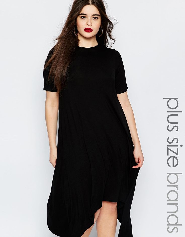 Image 1 of Boohoo Plus Hanky Hem Swing Dress