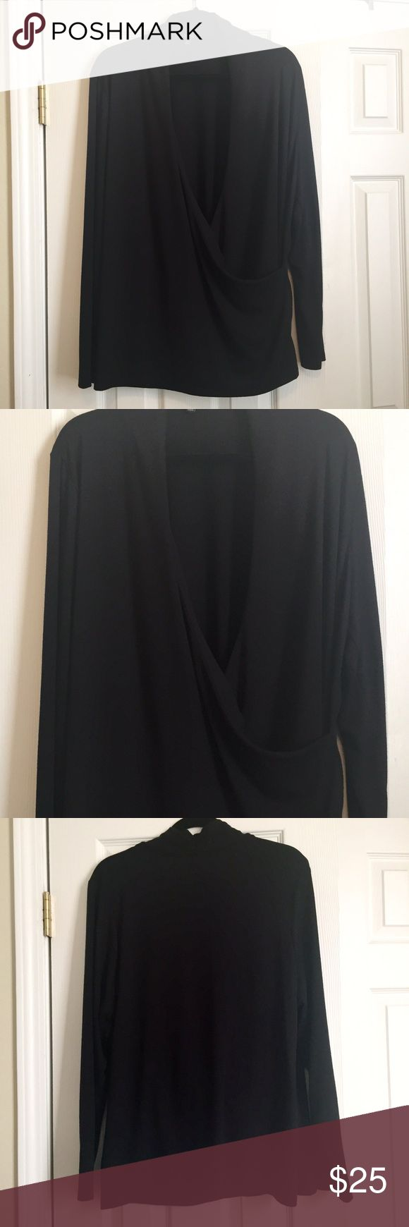 Talbots Knit Wrap Front Top Talbots long sleeve knit wrap front top. 2X. Black. Super comfy. Looks great with jeans, slacks or skirts. A great staple for any wardrobe. Worn once & realized it's too big for me. Excellent like new condition. No holes, snags, runs or other defects. Talbots Tops