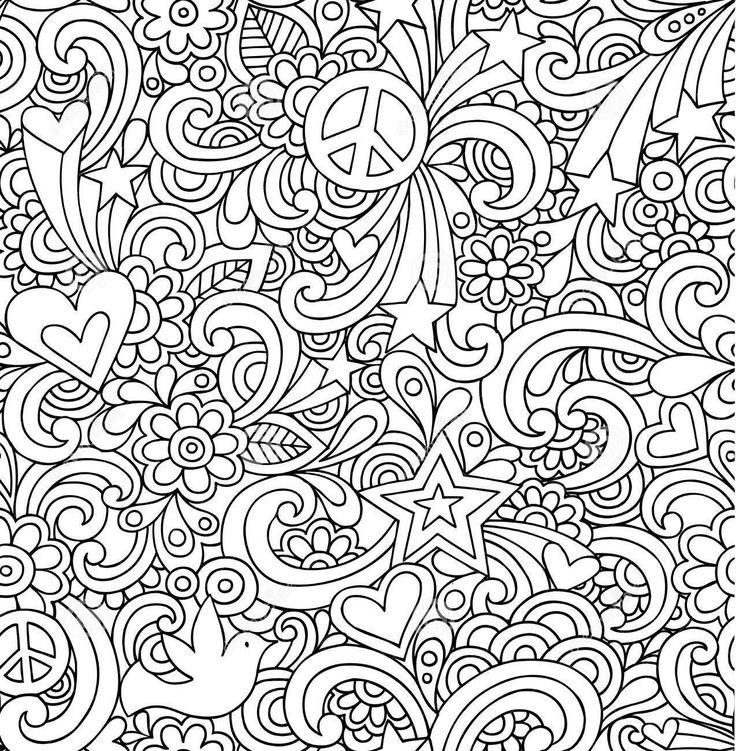 Раскраска Сердечки, цветы, звезды