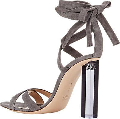 Gianvito Rossi Lucite� Heel Ankle-Tie Sandals