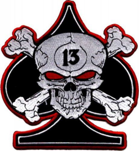 Skull crossbones with 13 on black spade embroidered iron on or sew on patch affix this patch by sewing or ironing to your favorite pair of jeans