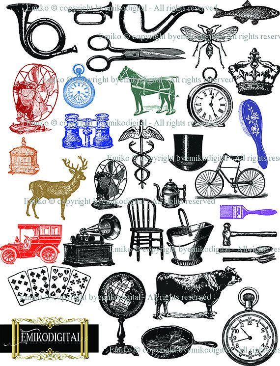 80% off Antique Digital collage sheetVintage ObjectsVintage