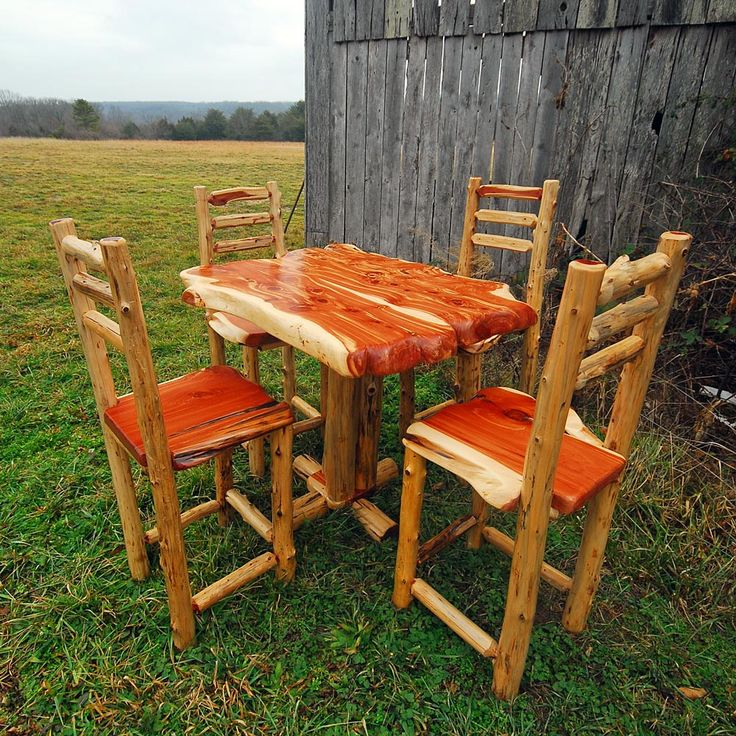 Rustic Cedar Bistro Table And Chairs
