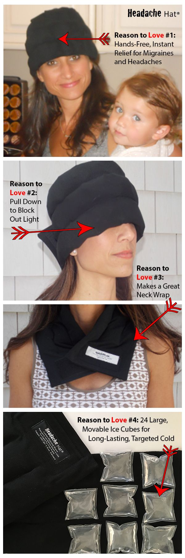 Makes a great gift! This comfortable, wearable ice pack provides effective, natural relief for migraines and headaches so you can keep going. It also makes a great neck wrap and is awesome for your post-workout cool down. You'll find lots of uses for this innovative product and it makes a great gift for the migraine sufferer or athlete in your life. Order at Amazon