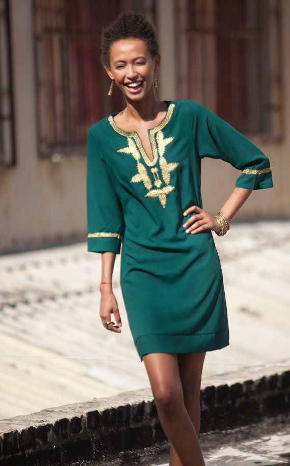 Short Kaftan Dress,Emerald green Moroccan Kaftan, Gold embroidery, Mini Dress, Available in Small Medium Large