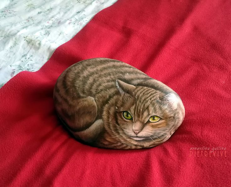Red tabby cat, hand painted on a stone by Ernestina Gallina, Pietrevive RockArt https://www.facebook.com/pietrevive.ernestina/