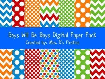 Boys Will Be Boys Digital Paper Pack FREEBIE - Mrs Ds Firsties - TeachersPayTeachers.com
