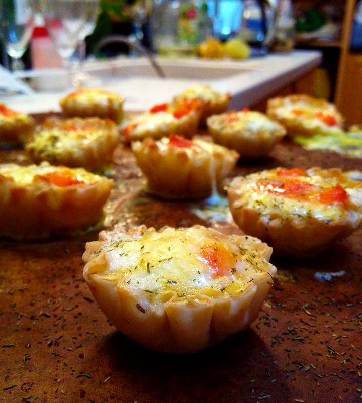 Quiche Minis- Mino Fillo Shells , Red Pepper, Havarti Cheese, Onions ...