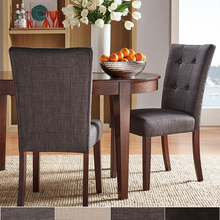Whether you add them to your dining room or use them as occasional chairs, these faux leather Hutton parson chairs are certain to be appreciated. Featuring a modern, streamlined shape and padded upholstery, they offer lasting style and comfort.