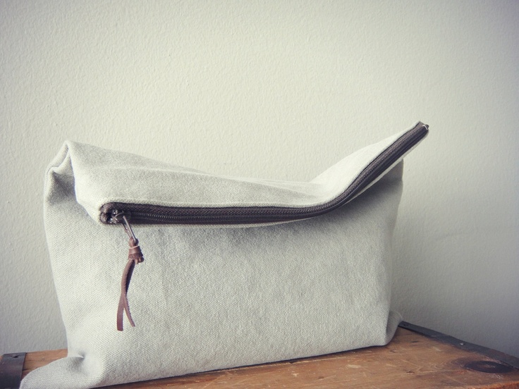 Love this- its so simple!  Zipper Pouch, Gray Travel Pouch (Large). $22.00, via Etsy.