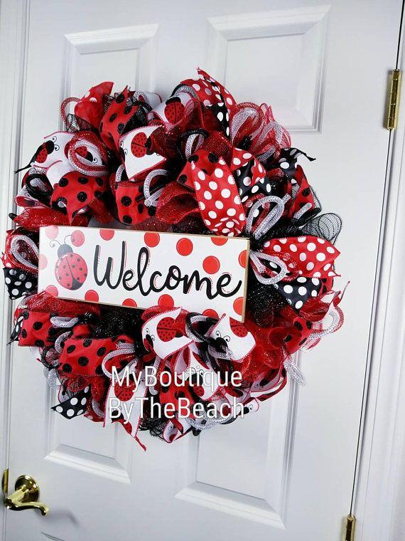 Ladybug Wreath Welcome Wreath For Front Door Spring Front Door