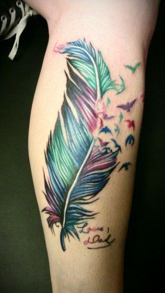 Psychedelic Feather tattoo. Dont always need black outlines to make something look nice.