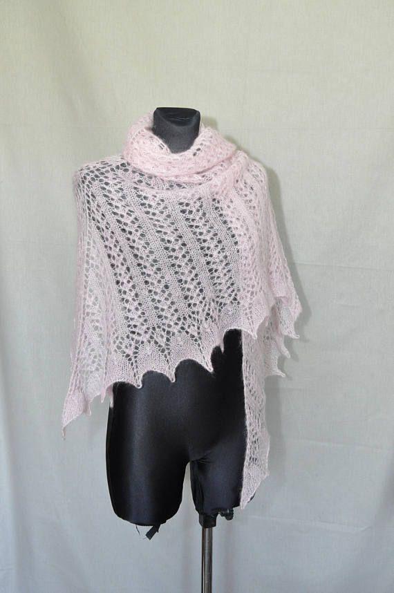 Hand Knitted Bridal Shawl Hand Knit Pink Shawl Pink Lace