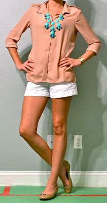 outfit posts: taupe top, white shorts, turquoise necklace I need more necklaces!