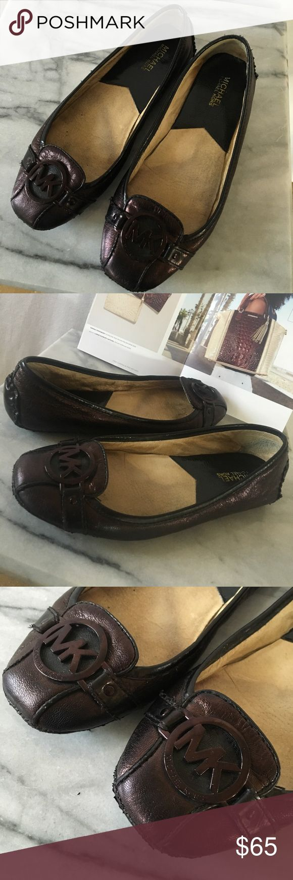 Michael Kors ballet flat Good used condition. Bottom back of heels show some wear, Leather upper is in great condition. Metallic reddish-brown with black trim. Sz 8.5 M. Thanks‼️🍾 MICHAEL Michael Kors Shoes Flats & Loafers