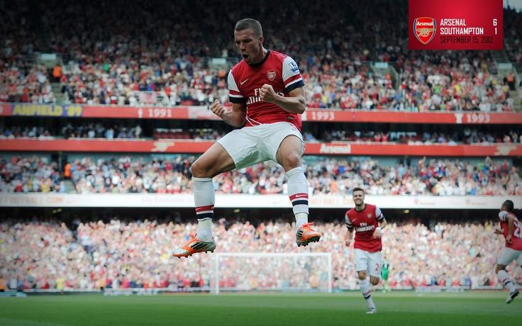 Arsenal 6-1 Southampton. Lukas Podolski celebrates scoring his sensational free-kick