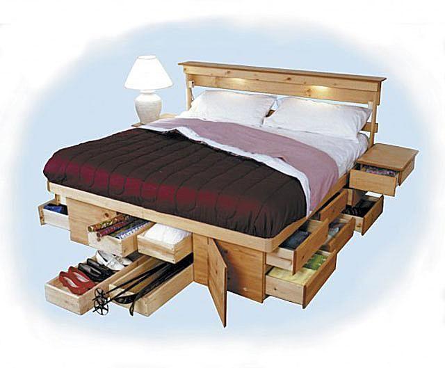 9 space making wood storage beds the underbed dresser - Under Bed Storage Frame