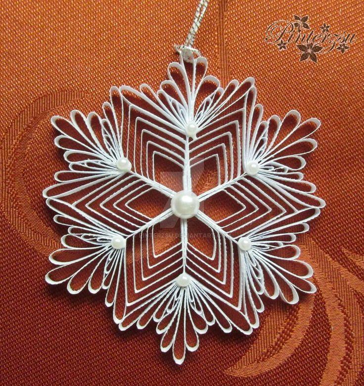 Quilled snowflake by pinterzsu on DeviantArt                              …