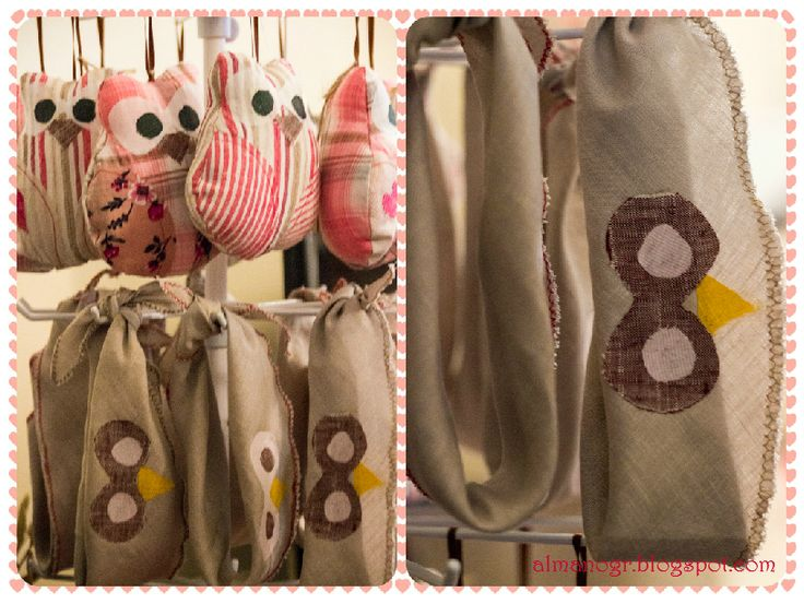 Linen bandanas with applique eyes and nose of the owl.