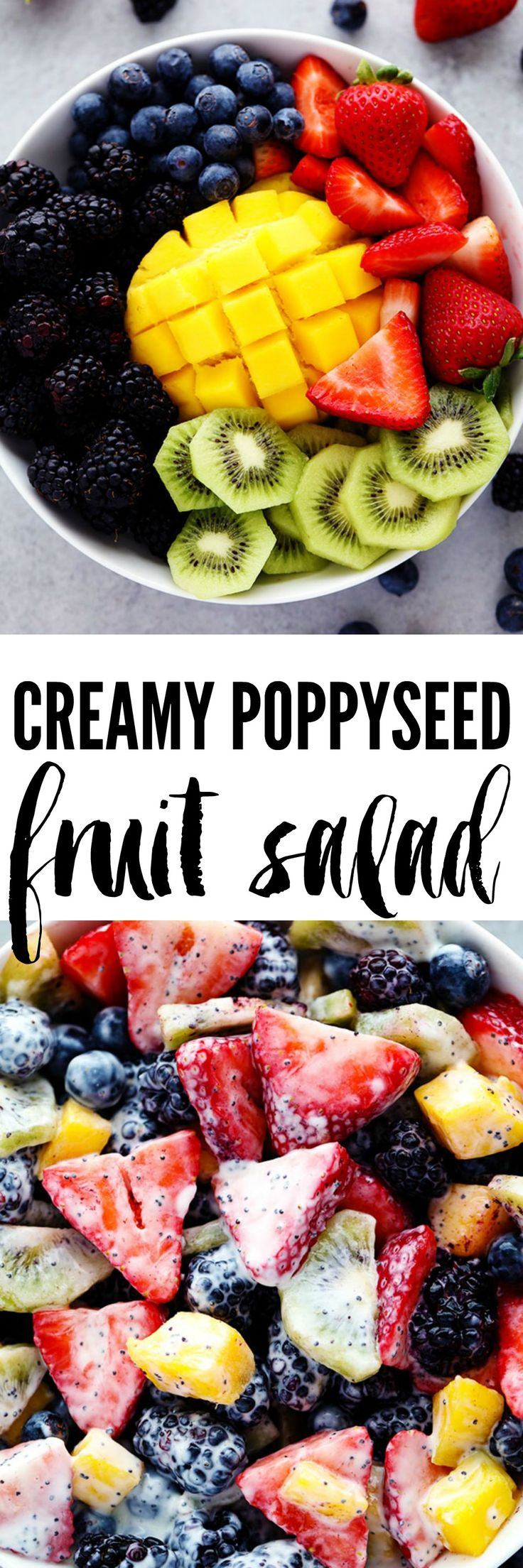 Creamy Poppyseed Fruit Salad is made with delicious mouthwatering fruit and tossed in a creamy poppyseed dressing. This will be a hit at your next potluck!