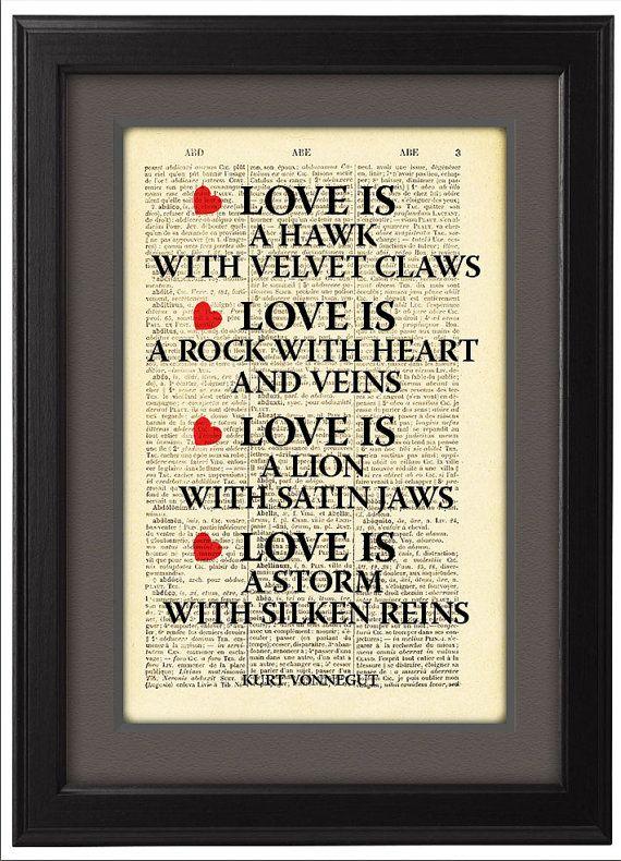 Love, Kurt Vonnegut Quote, Typographic print, art poster, Dictionary Pages, Book pages, Dorm decor, Home Decor, CODE/080