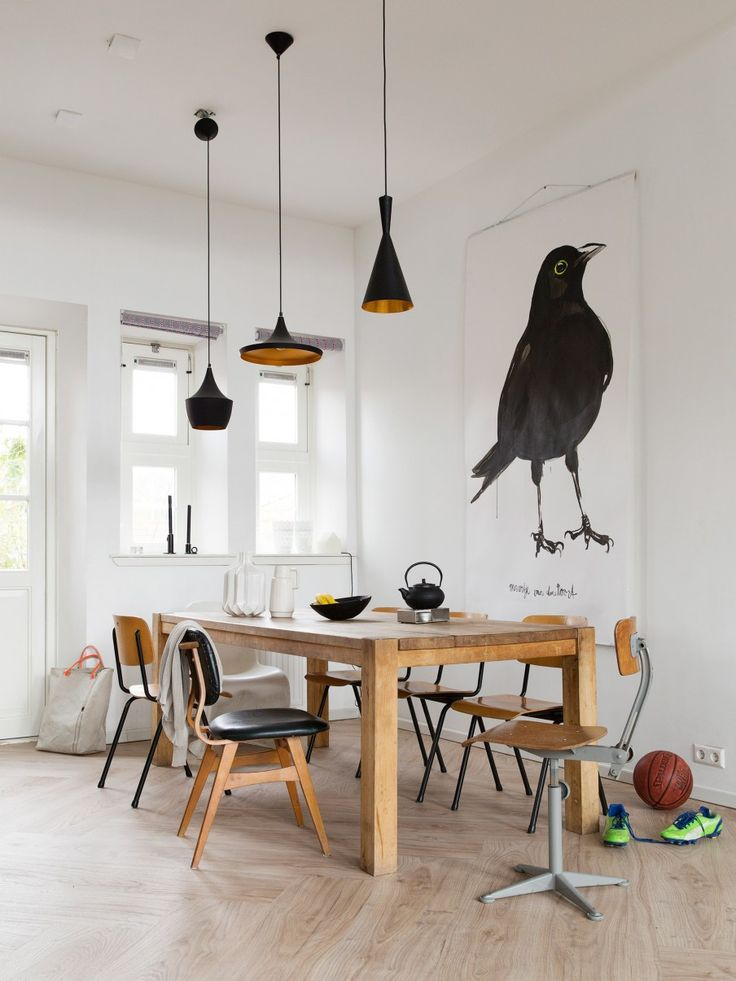 Wood floorboards to be lighter col than table - also love the bird artwork!