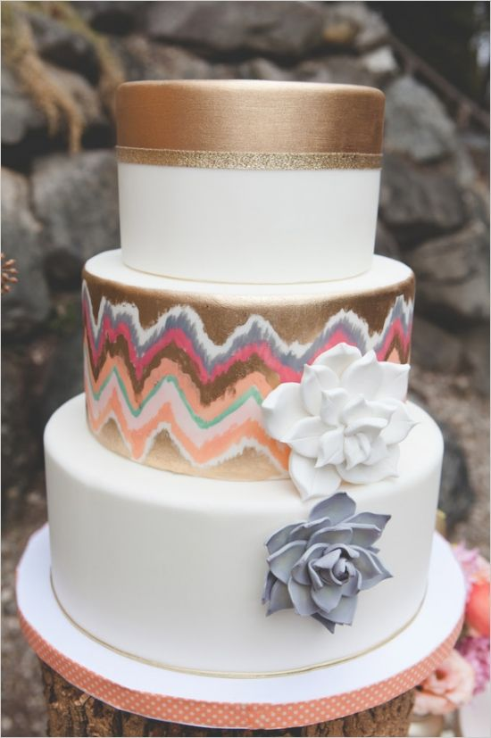 gold chevron cake #goldwedding #eclecticwedding #weddingchicks http://www.weddingchicks.com/2013/12/23/elcectic-gold-wedding-ideas/