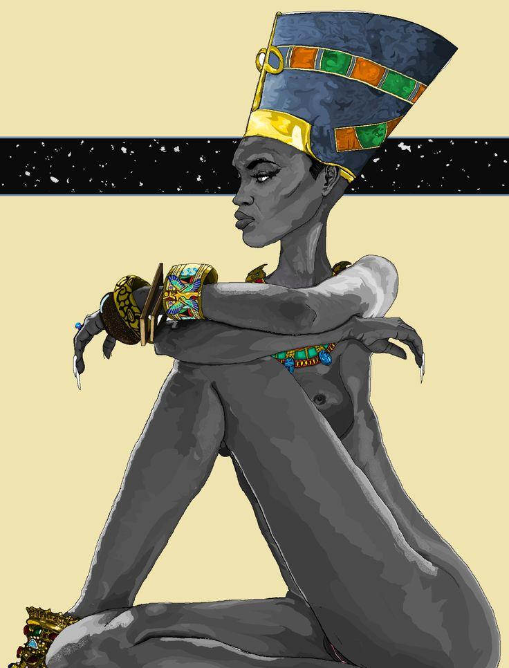 Nefertiti by Watson Mere. Art created using MicroSoft Paint. No pad, just mouse. @artofmere : : submission : :