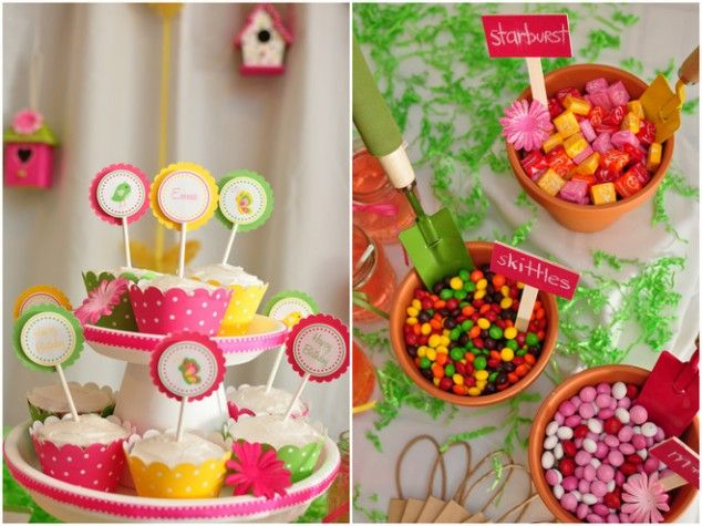 /: Candy Gardens, Spring Gardens, Birthday Parties, Flowers Pots, Gardens Theme, Gardens Parties, Candy Candy, Bright Colors, Parties Inspiration