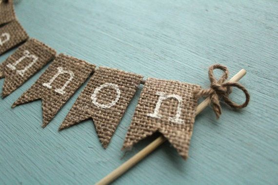 Personalized Name Cake Topper - Cake Decor Custom Party Cake Topper Birthday Cake Topper Rustic Topper Burlap Cake Topper Rustic Party Decor