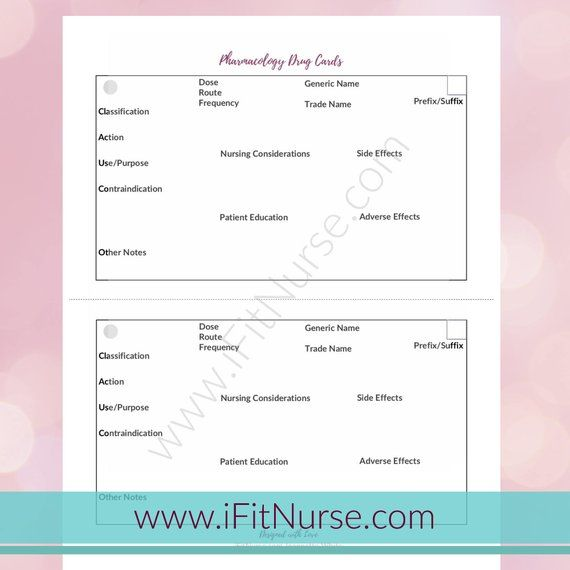 graphic relating to Free Printable Drug Cards for Nursing Students titled Pin upon Goods