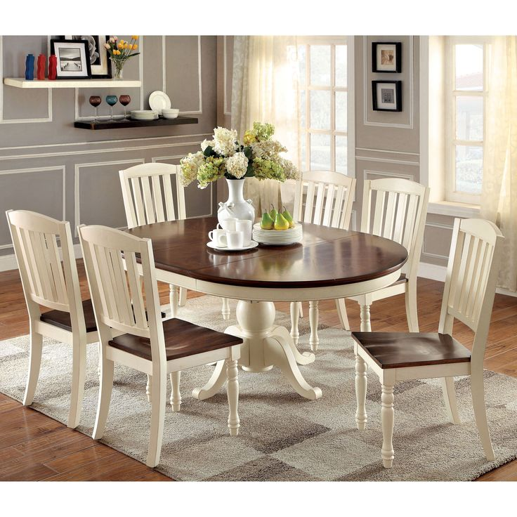 Table Painting 7 Pc Harrisburg Collection Country Style Oval Round Two Tone Vintage White And Dark Oak Finish Wood Dining Set With Pedestal Base