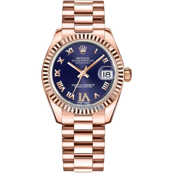 Rolex Datejust 31mm Everose Gold 178275 Purple VI Roman President... (32 290 AUD) ❤ liked on Polyvore featuring jewelry, watches, purple jewelry, gold jewelry, polish jewelry, rolex wrist watch and rolex crown