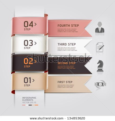 Abstract business infographics template ribbon style. Vector illustration. can be used for workflow layout, diagram, number options, step up options, banner, web design by graphixmania, via ShutterStock
