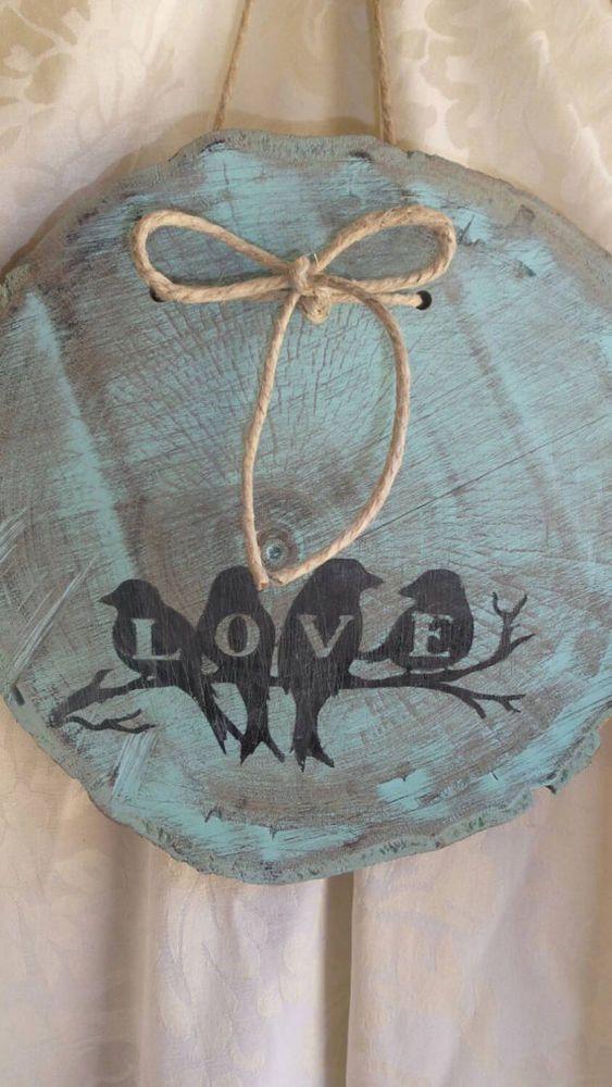 Love Birds Slice Walnut Wood sign