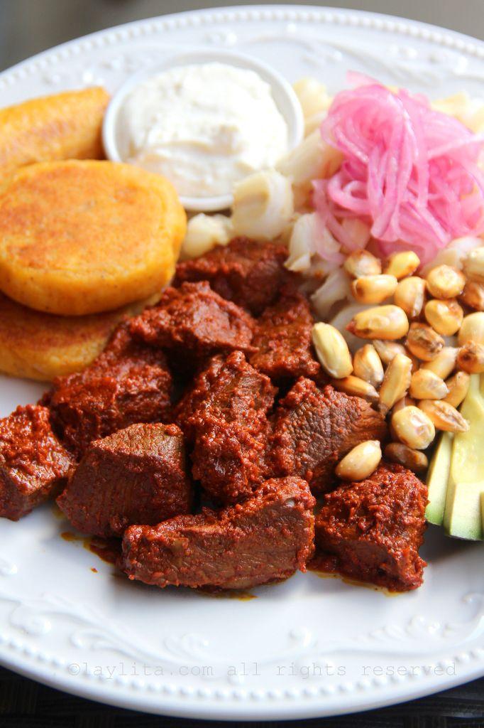 Ecuadorian carne colorada  or achiote marinated meat  ( Ecuador )