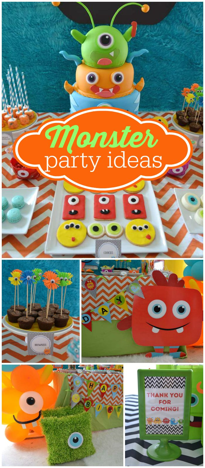 Check out this colorful monster party! Love the amazing cake! See more party planning ideas at CatchMyParty.com!