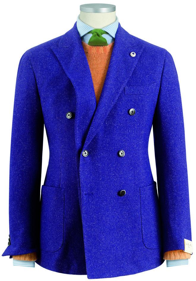 #giacca da uomo #doppiopetto #doublebreasted #blazer modello in lana/cotone sovratinto in pezza resca effetto bottonato #fashion #menswear #Lubiam Luigi Bianchi Mantova