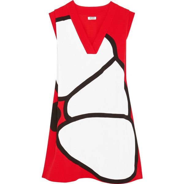 KENZO Paneled crepe mini dress ($570) ❤ liked on Polyvore featuring dresses, tomato red, red dress, white loose dress, flower dress, white dress and white mini dress