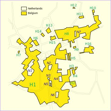 Baarle-Nassau, The Netherlands/Baarle-Hertog, Belgium. A city with complicated Belgian and Dutch enclaves.