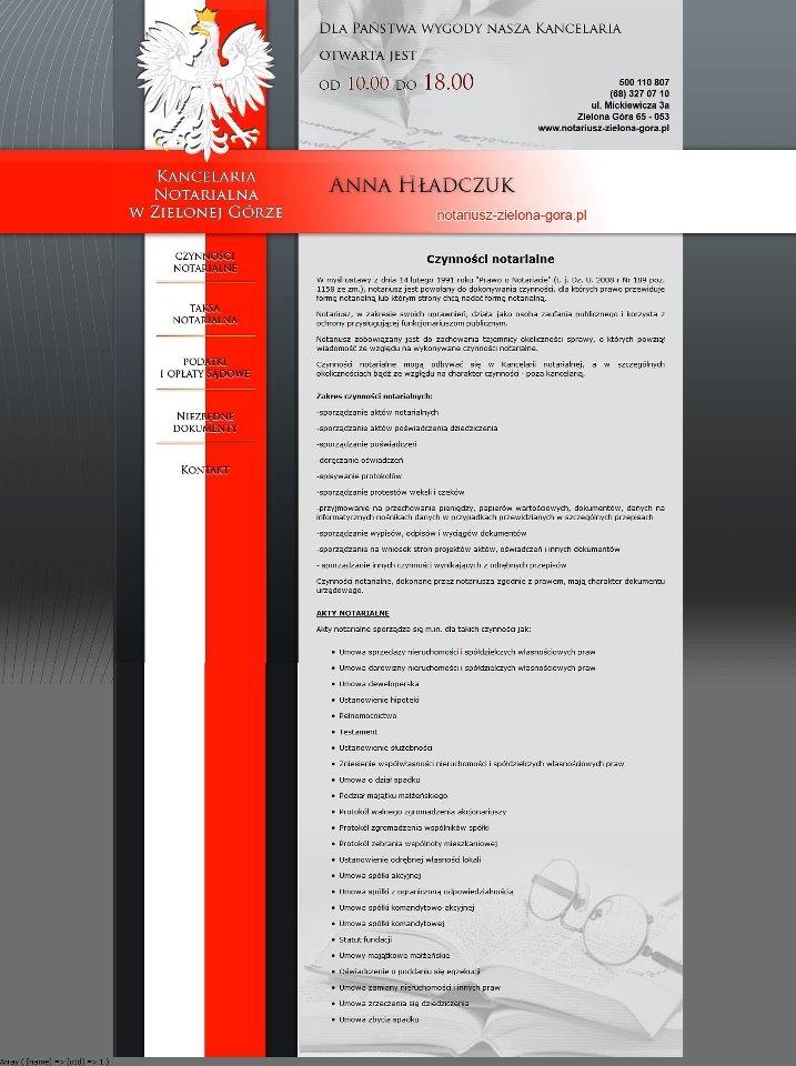 Elegancka i szykowna strona internetowa przygotowana dla kancelarii notarialnej Anny Hładczuk. Staraliśmy się tutaj nie przesadzić, w związku z czym strona jest skromna, przejrzysta i tematycznie związana z branżą ;) Bardzo bogata w odpowiednie treści!:)