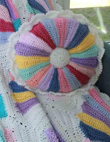 Picture of Scrap Fan Afghan and Pillow Crochet Pattern
